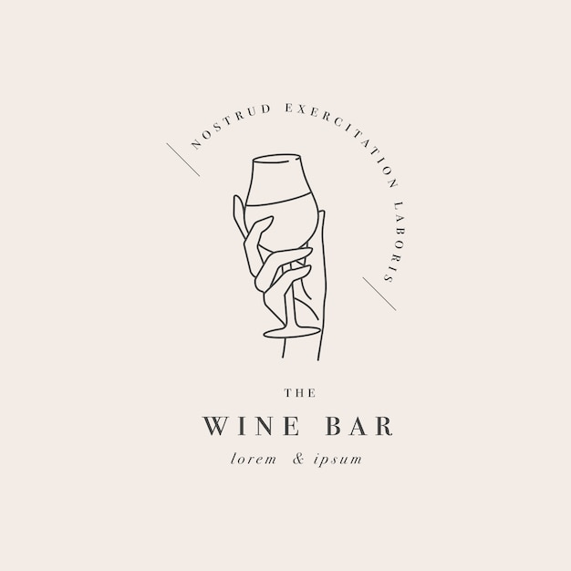 Design linear template logo or emblem  female hand holding glass of wine