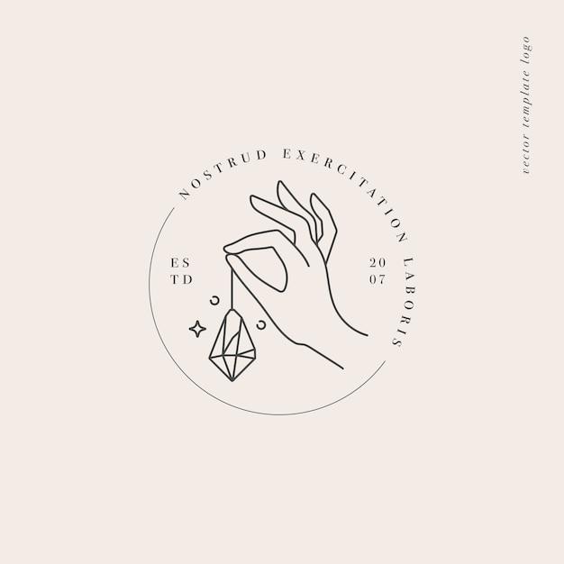 Design linear template logo or emblem  hand holding a crystal