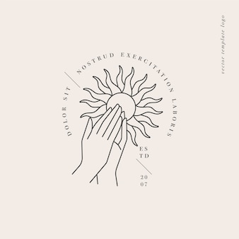 Design linear template logo or emblem  hands folded in prayer with sun sign Premium Vector
