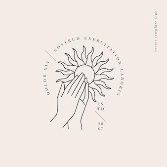 Дизайн линейный шаблон логотипа или эмблемы руки, сложенные в молитве со знаком солнца