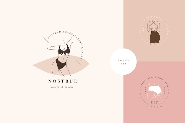 Design linear template logos or emblems -  faceless lady. female logos for lingerie or clothes.