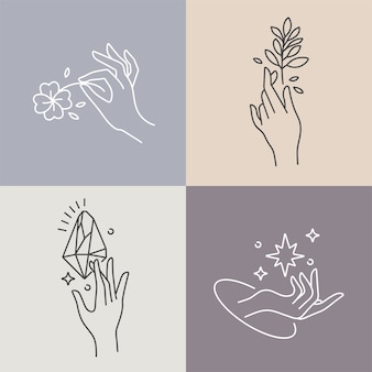 Design linear template logos or emblems  hands in in different gestures
