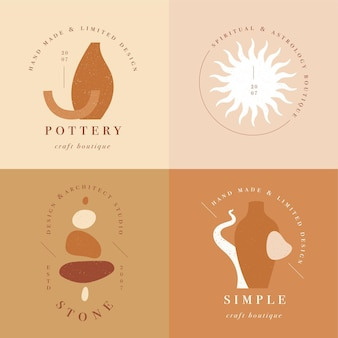 Design linear template logos or emblems - mystery boho style. abstract symbol for hand made products and craft boutiques.