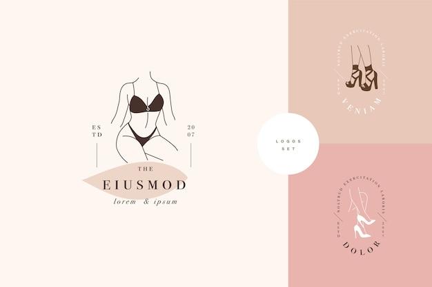 선형 템플릿 로고 또는 엠블럼 디자인-얼굴이없는 아가씨. 란제리 또는 옷에 대한 여성 로고.