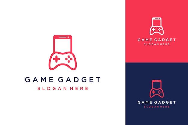 게임 콘솔이 있는 게임 가제트 또는 휴대폰용 디자인 로고