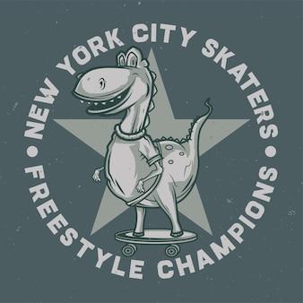 スケートボード上の恐竜のデザインロゴ