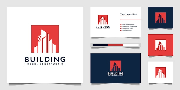Design logos and building construction business cards, inspiring city building abstract logos