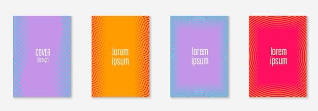 잡지 표지 디자인. 오렌지와 핑크. 동적 배너, 초대장, 보고서, 소책자 모형. 선 기하학적 요소가 있는 템플릿으로 잡지 표지를 디자인합니다.