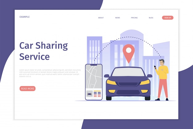 Design mobile city vector illustration landing page concept