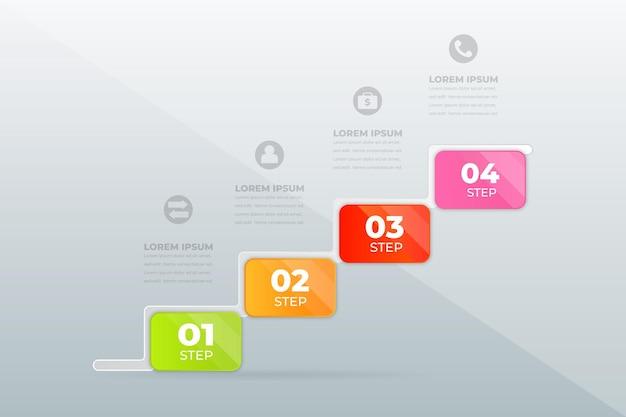 モダンなプロフェッショナルステップのインフォグラフィックをデザインする