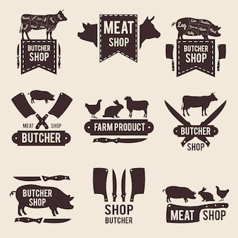 Design of monochrome labels set for butcher shop