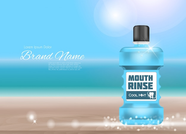 Design mouthwash product 3d realistic illustration