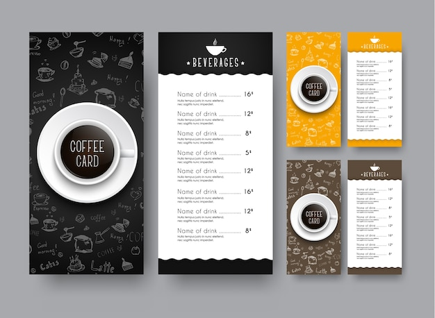 Design of a narrow menu for a cafe or restaurant. a leaflet template, with hand drawings and a cup of black coffee, is a top view.