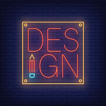 Design neon lettering on tablet. advertisement.