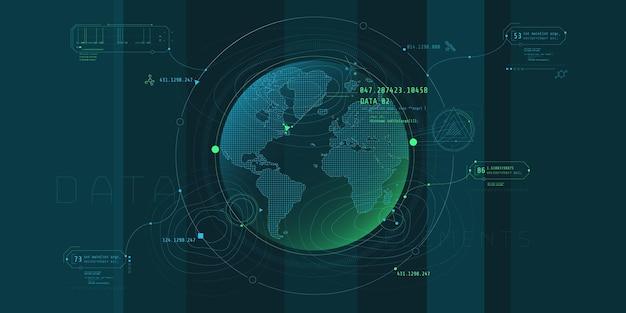 Дизайн футуристического программного интерфейса для планетарного поиска.