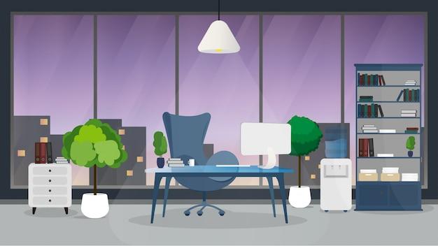 現代のオフィスデザイナーの職場のデザイン。大きな窓、ワークデスク、モダンなモニター、インテリアの家具を備えたクリエイティブオフィスのワークスペース。フラットなミニマルなデザイン、ウェブサイトのバナーのイラスト。