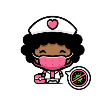 マスクをした看護師のデザイン