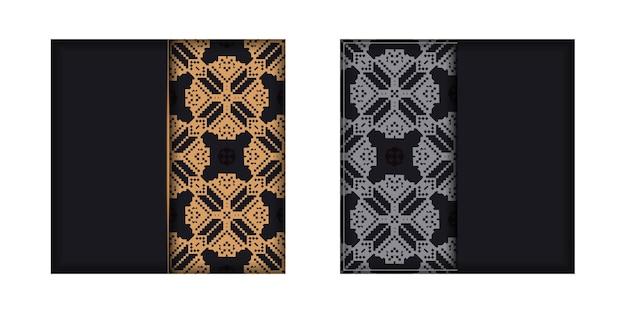 Дизайн открытки черного цвета со славянским орнаментом. вектор пригласительный билет с местом для текста и старинных образцов.