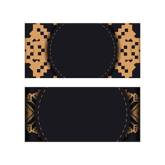 Дизайн открытки в черном цвете со славянскими узорами. вектор пригласительный билет с местом для текста и старинных украшений.