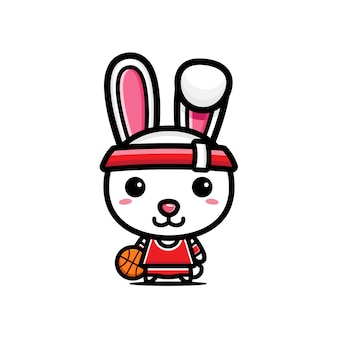 バスケットボールをするウサギのデザイン