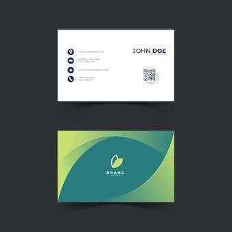 녹색 색상으로 추상 명함 디자인