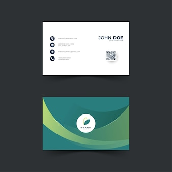 Дизайн абстрактной визитной карточки с зеленым цветом