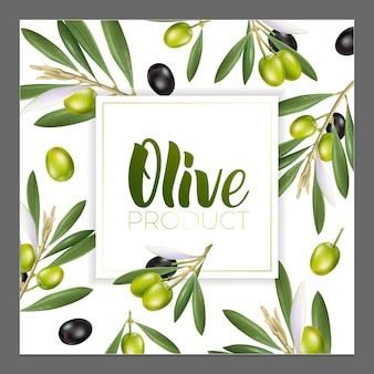 Дизайн рекламных плакатов, открыток, этикеток для продуктов из оливок. надпись на оливковом масле кистью.