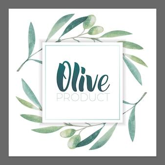 올리브 제품의 광고 포스터, 엽서, 라벨 디자인. 브러시 펜으로 올리브 오일 글자.