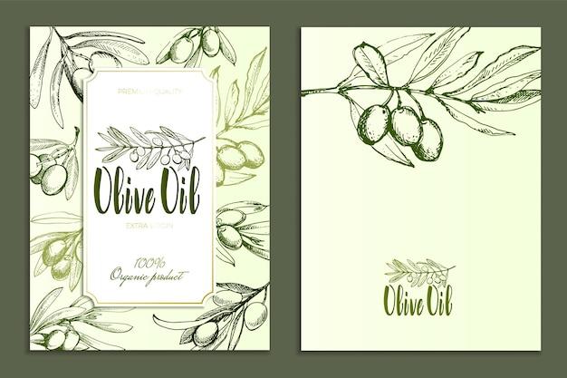 Дизайн рекламных плакатов, открыток, этикеток для продуктов из оливок.