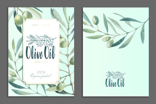 올리브 제품의 광고 포스터, 엽서, 라벨 디자인