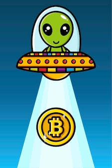 Ufo를 빠는 bitcoin을 타고 외계인의 디자인