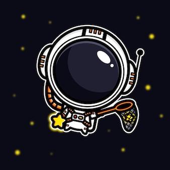 星を捉える宇宙飛行士のデザイン
