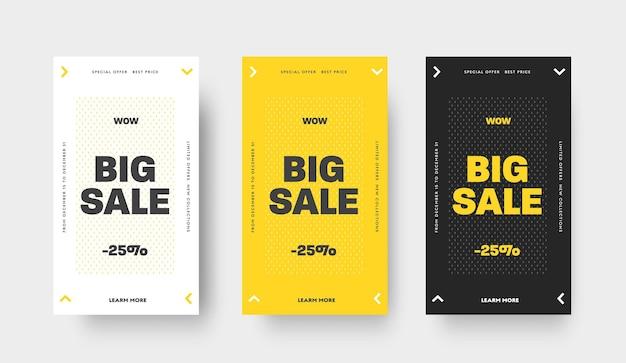 Дизайн черно-белых и желтых векторных веб-баннеров для больших продаж в рассказах. шаблон с узором стрелки. набор для рекламы магазинов в sicoal media