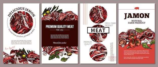 육류 농장 천연 제품 일러스트레이션을위한 카드, 포스터, 라벨 또는 태그 디자인