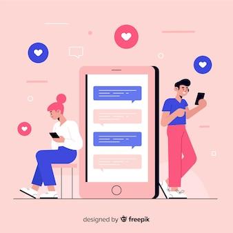 스마트 폰에서 사람들과 채팅하는 디자인