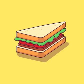 チーズハムサンドイッチアイコンイラストのデザイン。サンドイッチアイコンの概念が分離されました。