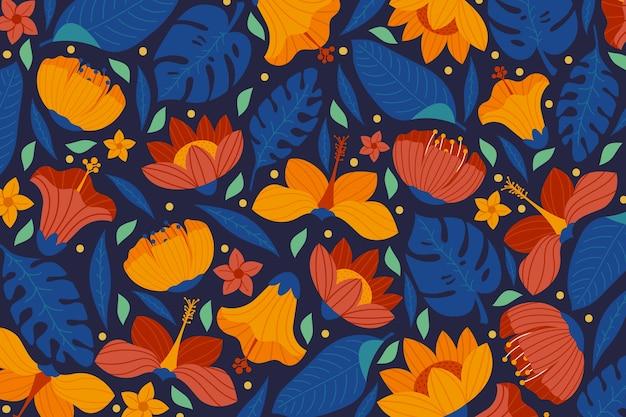カラフルなエキゾチックな花の背景のデザイン 無料ベクター
