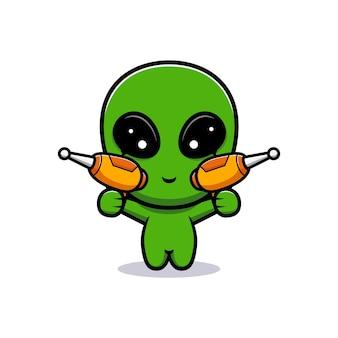 귀여운 외계인과 총의 디자인