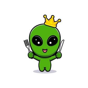 먹을 준비가 된 귀여운 외계인 왕의 디자인