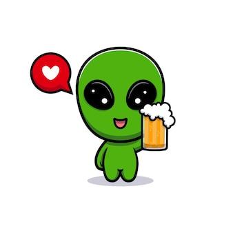 Дизайн симпатичного инопланетного пива любви