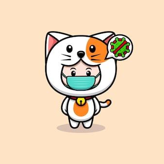 猫の衣装とマスクを身に着けているかわいい男の子のデザインウイルスアイコンイラストを防ぐために