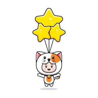 별 풍선 아이콘 일러스트와 함께 떠 있는 고양이 의상을 입고 귀여운 소년의 디자인