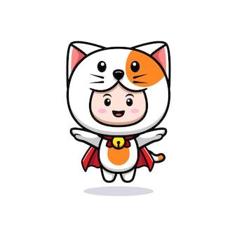 가운 아이콘 일러스트와 함께 비행 고양이 의상을 입고 귀여운 소년의 디자인