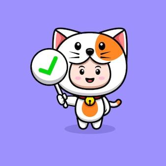 올바른 기호 아이콘 그림을 들고 고양이 의상을 입고 귀여운 소년의 디자인