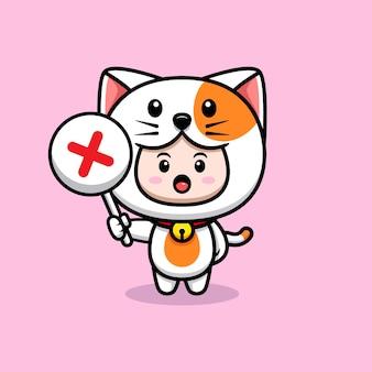 잘못된 기호 아이콘 그림을 들고 고양이 의상을 입고 귀여운 소년의 디자인