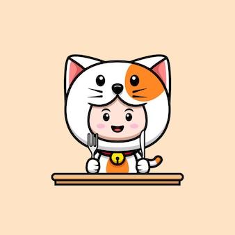 아이콘 그림을 먹을 준비가 된 고양이 의상을 입은 귀여운 소년의 디자인