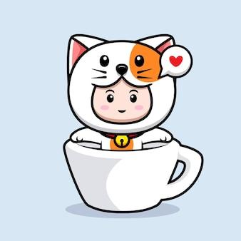 고양이 의상을 입은 귀여운 소년의 디자인은 컵 아이콘 그림 안에서 휴식을 취합니다.