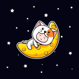 달 아이콘 그림에서 잠자는 고양이 의상을 입은 귀여운 소년의 디자인