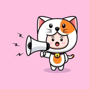 확성기 아이콘 그림에서 말하는 고양이 의상을 입은 귀여운 소년의 디자인
