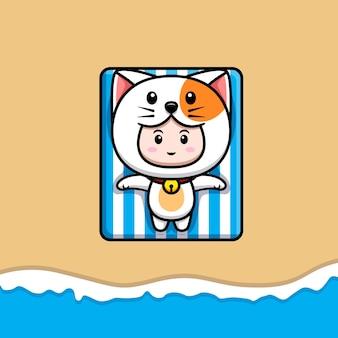 해변 아이콘 그림에서 일광욕을 하는 고양이 의상을 입은 귀여운 소년의 디자인